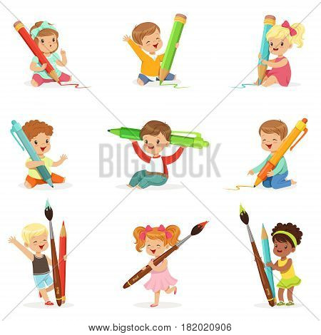 Cute young children holding big pencils, pens and paintbrushes, set for label design. Education and child development. Cartoon detailed colorful Illustrations isolated on white background