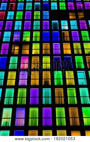 Colored Windows Texture. Neon Light Background