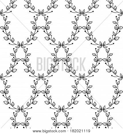 Vector Black Decorative Seamless Backdround Pattern with Drawn Herbs, Plants, Branches. Doodle Style Greenery, Lush Foliage, Foliate. Vector Illustration. Pattern Swatch