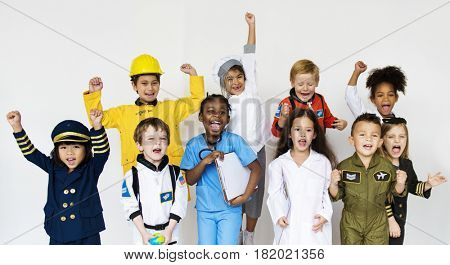 Children in group posing for photoshoot