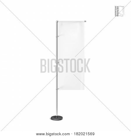 White outdoor feather flag, stander advertising banner shield. Isolated on white Background. Mock Up template ready for your design