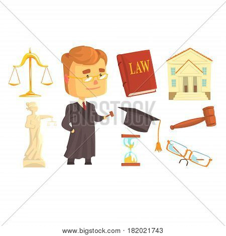 Judge and attributes of judicial activity set for label design. Law and justice, cartoon detailed colorful Illustrations isolated on white background