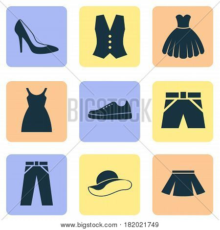 Garment Icons Set. Collection Of Elegant Headgear, Waistcoat, Stylish Apparel And Other Elements. Also Includes Symbols Such As Sundress, Sarafan, Leggings. poster