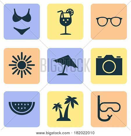 Hot Icons Set. Collection Of Goggles, Tube, Sunny And Other Elements. Also Includes Symbols Such As Video, Trees, Bikini.