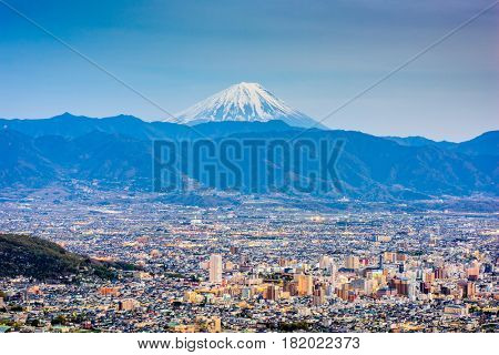 Kofu, Japan skyline with Mt. Fuji.