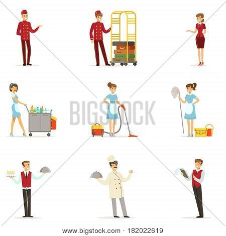 Staff in the hotel set for label design. Receptionist, cook, waiter, maid, porter. Colorful cartoon detailed Illustrations isolated on white background