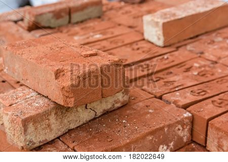 Bundle of bricks ready for transpotation and construction