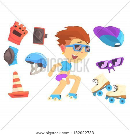 Roller skating boy, set for label design. Accessories and equipment for roller skating. Colorful cartoon detailed Illustrations isolated on white background