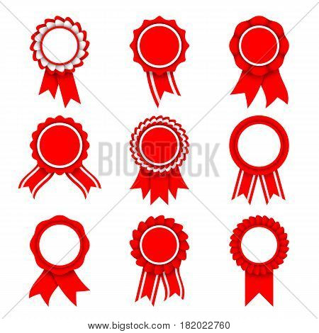 Set of 9 red and white award medals with ribbons isolated on white background