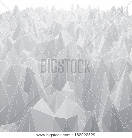 White abstract geometric background with polygon mesh grid object