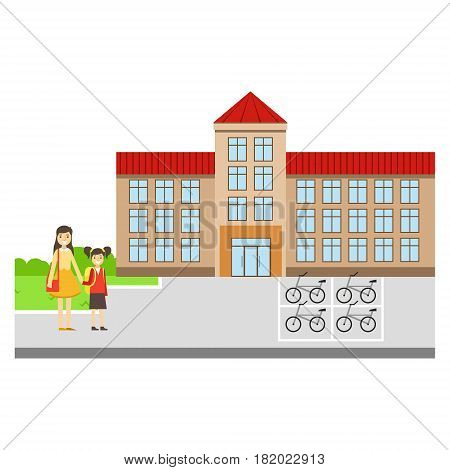 Mother And Daughter Outside The School Building, Part Of School And Scholar Life Series Of Minimalistic Illustrations. Education And Young Students Vector Primitive Drawing With Smiling Characters.