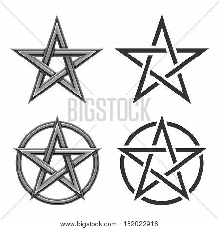 Collection of pentagram star symbol isolated on white background