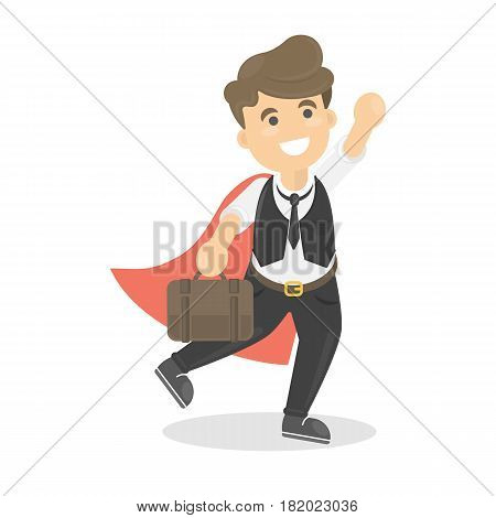 Businessman is super man with red cloak standing with briefcase.