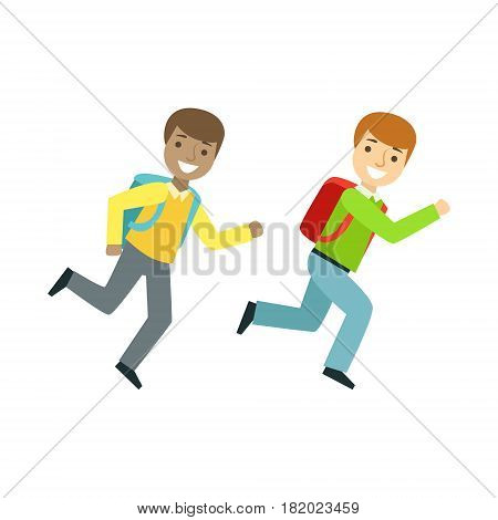 Two Boys Running To The Classroom, Part Of School And Scholar Life Series Of Minimalistic Illustrations. Education And Young Students Vector Primitive Drawing With Smiling Characters.