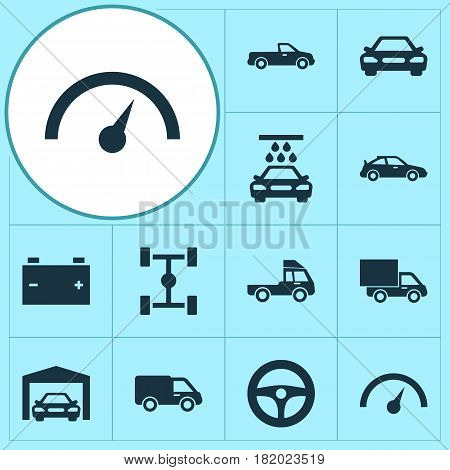 Auto Icons Set. Collection Of Auto, Lorry, Transport Cleaning And Other Elements. Also Includes Symbols Such As Chassis, Accumulator, Speed.