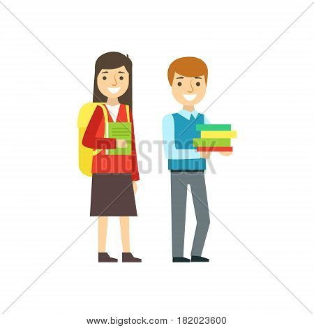 Boy And Girl Smiling With Backpacks And Books, Part Of School And Scholar Life Series Of Minimalistic Illustrations. Education And Young Students Vector Primitive Drawing With Smiling Characters.