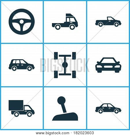 Car Icons Set. Collection Of Lorry, Van, Carriage And Other Elements. Also Includes Symbols Such As Chassis, Lorry, Car.