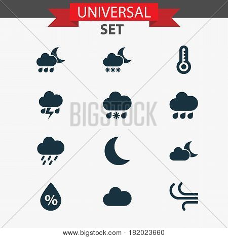 Climate Icons Set. Collection Of Douche, Moon, Temperature And Other Elements. Also Includes Symbols Such As Moisture, Wet, Shower.