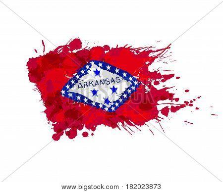 Flag of Arkansas USA made of colorful splashes