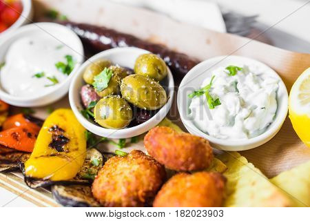 Tasty Grilled Vegetables with Fresh Green olives