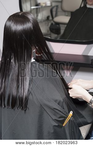 Female Haircut In A Hairdresser's