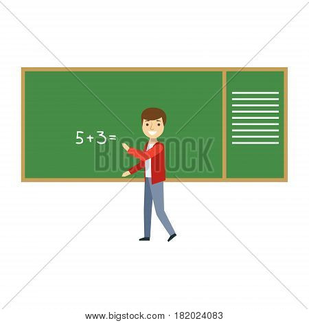 Boy Solving Math Problem On Blackboard In Classroom, Part Of School And Scholar Life Series Of Minimalistic Illustrations. Education And Young Students Vector Primitive Drawing With Smiling Characters.