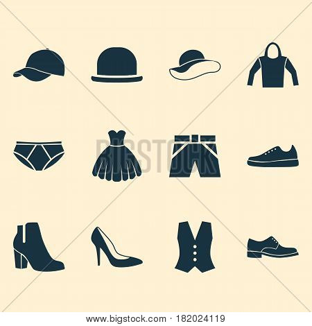 Clothes Icons Set. Collection Of Waistcoat, Trunks Cloth, Panama And Other Elements. Also Includes Symbols Such As Hoodie, Trunks, Trilby.