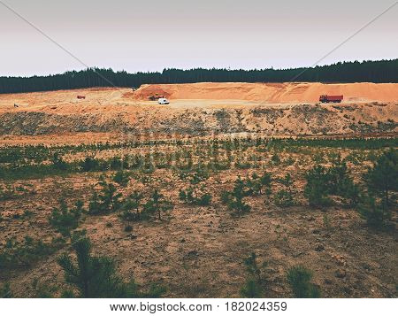 White Clean Sand Mining For Glass Production. Restoration Of Of Mined Territory