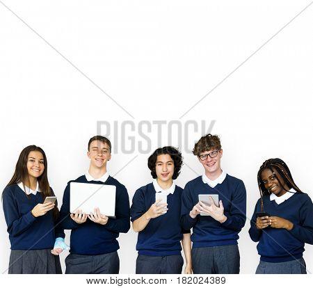 Group of Diverse Students Using Digital Devices Studio Portrait