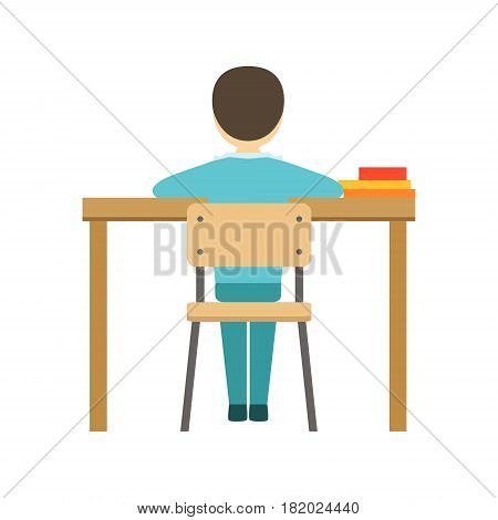 Boy Sitting At His Desk In Classroom, Part Of School And Scholar Life Series Of Minimalistic Illustrations. Education And Young Students Vector Primitive Drawing With Smiling Characters.