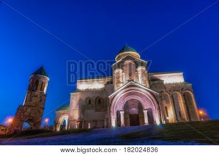 Night view on Bagrati Cathedral or The Cathedral of the Dormition is an 11th century cathedral in Kutaisi, Georgia.