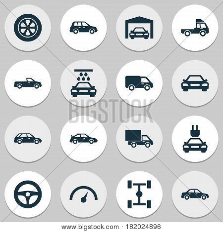 Automobile Icons Set. Collection Of Chronometer, Carriage, Plug And Other Elements. Also Includes Symbols Such As Water, Tire, Pickup.