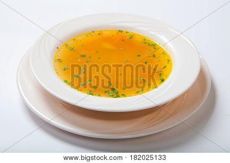 Fresh Vegetable Soup Made Of Green Bean, Carrot, Potato, Red Bell Pepper, Tomato In Bowl