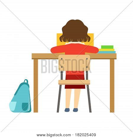 Girl Reading The Book Sitting At The Desk In Classroom, Part Of School And Scholar Life Series Of Minimalistic Illustrations. Education And Young Students Vector Primitive Drawing With Smiling Characters.