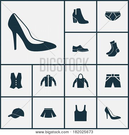 Dress Icons Set. Collection Of Singlet, Sweatshirt, Female Winter Shoes And Other Elements. Also Includes Symbols Such As Trunks, Apparel, Clothes.