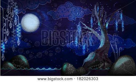 Vector artoon seascape with moon and tree