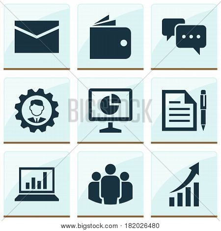 Job Icons Set. Collection Of Envelope, Billfold, Diagram And Other Elements. Also Includes Symbols Such As Chart, Manager, Statistic.