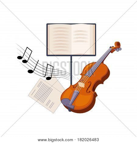Violin And Musical Notebook, Set Of School And Education Related Objects In Colorful Cartoon Style. Scholar Inventory Illustration Flat Vector Cute Drawing.