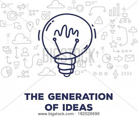 Vector creative illustration of big light bulb with line icons and text on white background. Generation of ideas concept. Thin hand drawn line art doodle style design for web, site, banner, business presentation