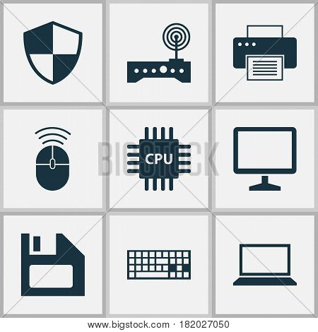 Notebook Icons Set. Collection Of Computer Mouse, Defense, Motherboard And Other Elements. Also Includes Symbols Such As Desktop, Motherboard, Cpu.