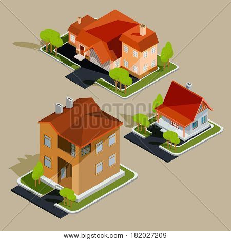 Set of vector isometric illustrations, icons of residential houses, cottages with garage, yard, green lawn for advertising brochures of real estate