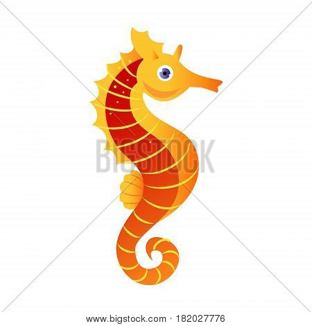 Seahorse or hippocampus, sea creature. Colorful cartoon character isolated on a white background