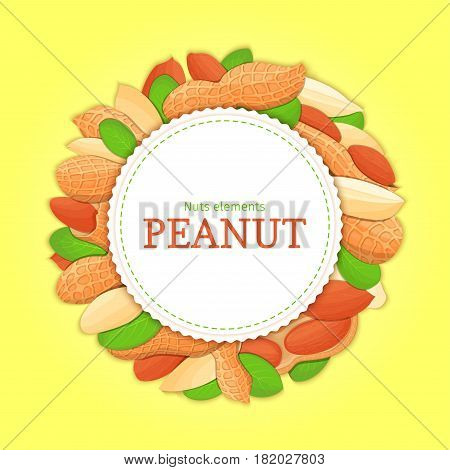 Round white frame composed of peanut nut. Vector card illustration. Circle nuts frame, groundnut fruit in the shell, whole, shelled, leaves appetizing looking for packaging design of healthy food.