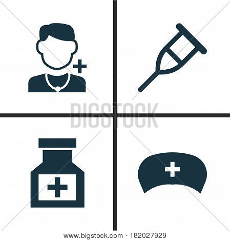 Drug Icons Set. Collection Of Cap, Stand, Drug Elements. Also Includes Symbols Such As Physician, Cap, Healthy.