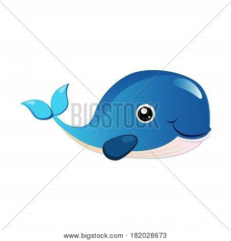 Blue humpback whale, sea creature. Colorful cartoon character isolated on a white background