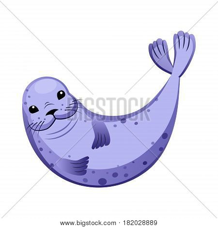 Cute purple fur seal, sea creature. Colorful cartoon character isolated on a white background
