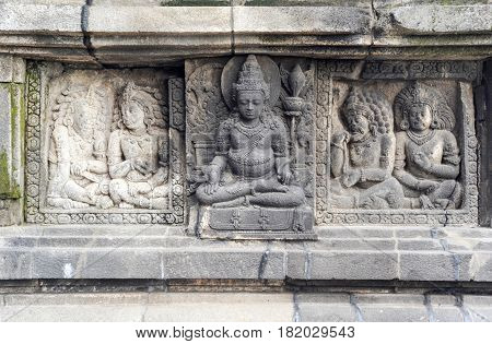Prambanan, Indonesia - 2 February 2013: Artwork of Prambanan temple compound in Java on Indonesia, Unesco world heritage