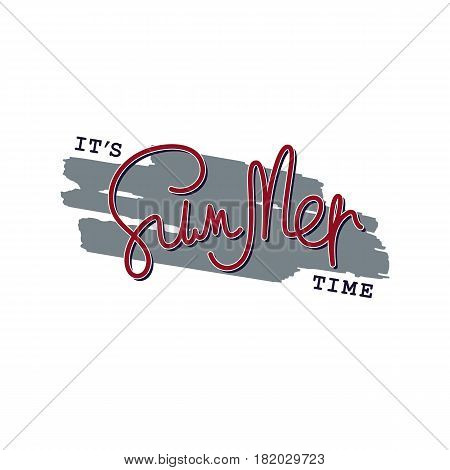 Paintbrush smear and author's lettering - It's Summer Time. Simple creative design elements. Vector EPS 8