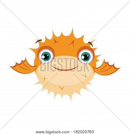 Yellow puffer fish. Sea, tropical, aquarium fish. Colorful cartoon character isolated on a white background