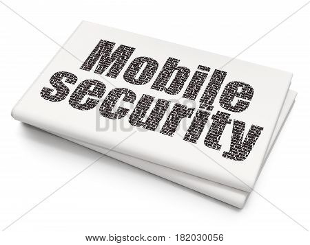 Privacy concept: Pixelated black text Mobile Security on Blank Newspaper background, 3D rendering